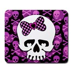 Pink Polka Dot Bow Skull Large Mousepad