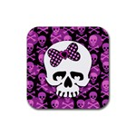 Pink Polka Dot Bow Skull Rubber Coaster (Square)