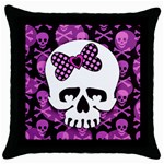 Pink Polka Dot Bow Skull Throw Pillow Case (Black)