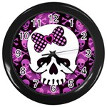 Pink Polka Dot Bow Skull Wall Clock (Black)