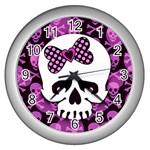 Pink Polka Dot Bow Skull Wall Clock (Silver)