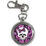 Pink Polka Dot Bow Skull Key Chain Watch