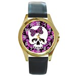 Pink Polka Dot Bow Skull Round Gold Metal Watch