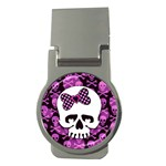 Pink Polka Dot Bow Skull Money Clip (Round)
