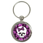 Pink Polka Dot Bow Skull Key Chain (Round)
