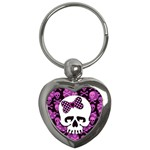 Pink Polka Dot Bow Skull Key Chain (Heart)