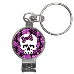 Pink Polka Dot Bow Skull Nail Clippers Key Chain