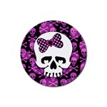 Pink Polka Dot Bow Skull Rubber Round Coaster (4 pack)