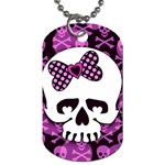 Pink Polka Dot Bow Skull Dog Tag (One Side)
