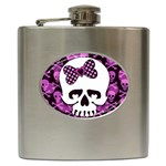 Pink Polka Dot Bow Skull Hip Flask (6 oz)