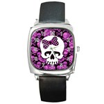 Pink Polka Dot Bow Skull Square Metal Watch