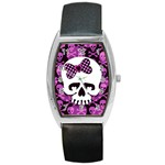Pink Polka Dot Bow Skull Barrel Style Metal Watch