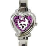 Pink Polka Dot Bow Skull Heart Italian Charm Watch