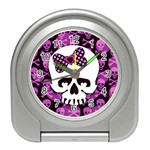Pink Polka Dot Bow Skull Travel Alarm Clock