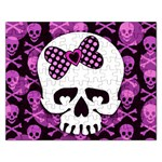 Pink Polka Dot Bow Skull Jigsaw Puzzle (Rectangular)