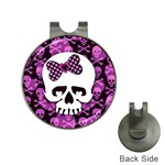 Pink Polka Dot Bow Skull Golf Ball Marker Hat Clip