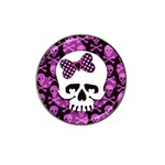 Pink Polka Dot Bow Skull Hat Clip Ball Marker (4 pack)