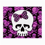 Pink Polka Dot Bow Skull Glasses Cloth (Small)