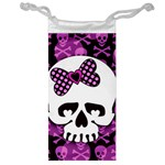 Pink Polka Dot Bow Skull Jewelry Bag