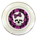 Pink Polka Dot Bow Skull Porcelain Plate