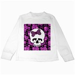 Pink Polka Dot Bow Skull Kids Long Sleeve T-Shirt