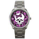 Pink Polka Dot Bow Skull Sport Metal Watch
