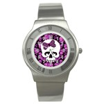 Pink Polka Dot Bow Skull Stainless Steel Watch