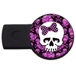 Pink Polka Dot Bow Skull USB Flash Drive Round (4 GB)