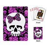 Pink Polka Dot Bow Skull Playing Cards Single Design