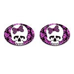 Pink Polka Dot Bow Skull Cufflinks (Oval)
