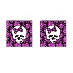 Pink Polka Dot Bow Skull Cufflinks (Square)