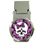 Pink Polka Dot Bow Skull Money Clip Watch