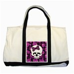 Pink Polka Dot Bow Skull Two Tone Tote Bag