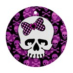 Pink Polka Dot Bow Skull Round Ornament (Two Sides)