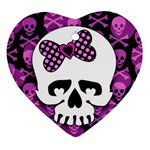 Pink Polka Dot Bow Skull Heart Ornament (Two Sides)
