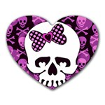 Pink Polka Dot Bow Skull Mousepad (Heart)