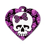 Pink Polka Dot Bow Skull Dog Tag Heart (One Side)