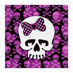 Pink Polka Dot Bow Skull Glasses Cloth (Medium, Two Sides)
