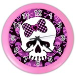 Pink Polka Dot Bow Skull Color Wall Clock