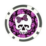 Pink Polka Dot Bow Skull Poker Chip Card Guard