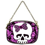 Pink Polka Dot Bow Skull Chain Purse (One Side)