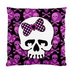 Pink Polka Dot Bow Skull Cushion Case (One Side)