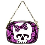 Pink Polka Dot Bow Skull Chain Purse (Two Sides)
