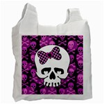 Pink Polka Dot Bow Skull Recycle Bag (One Side)