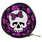 Pink Polka Dot Bow Skull Mini Makeup Bag