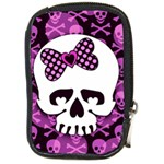 Pink Polka Dot Bow Skull Compact Camera Leather Case