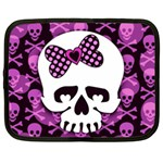 Pink Polka Dot Bow Skull Netbook Case (XL)