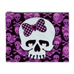 Pink Polka Dot Bow Skull Cosmetic Bag (XL)
