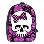 Pink Polka Dot Bow Skull School Bag (Large)
