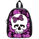 Pink Polka Dot Bow Skull School Bag (Small)